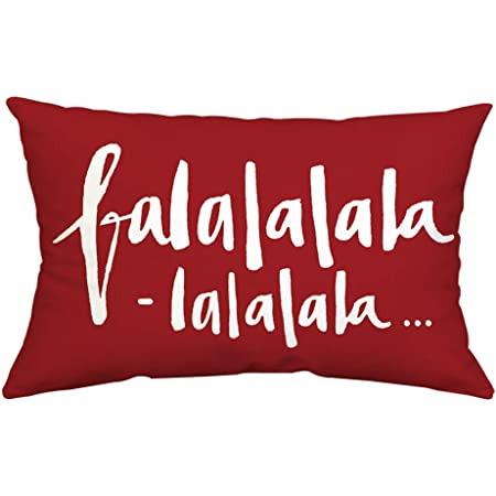 Amazon Com Gtext Christmas Decor Throw Pillow Cover Holiday Decor Falalalala Cuhion Cover Case For Couch Sofa Home Decoration Fall Pillows Linen 12 X 20 Inches Home Kitchen