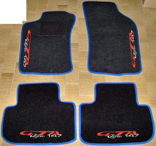 Lot complet de tapis de voiture noirs avec bord bleu électrique, sur mesure, broderie à fil rouge