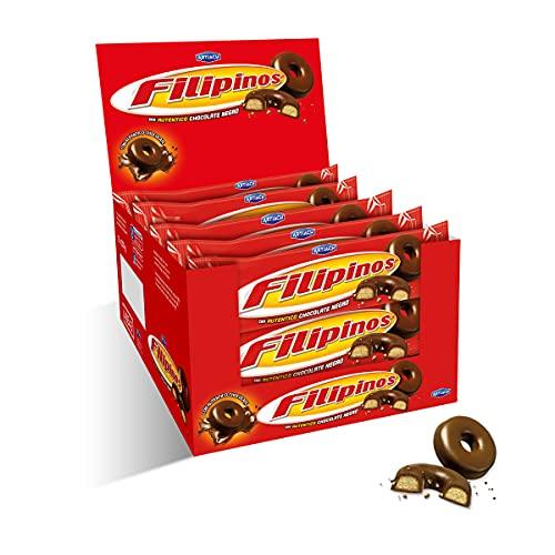 Filipinos Kekse In dunkle Schokolade getauchte 135g [Pack 12] - Die perfekte Kombination aus echter dunkler Schokolade und knusprigen Keksen.