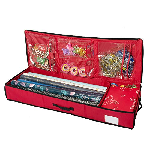 Rocinha Christmas Storage Organizer,Gift Wrap Storage,Wrapping Paper Storage with Pockets,Fits 40 Inch Wrapping Papers for Ribbons,Cards,Gift Bag,Bows Organizer -Durable 600D Oxford Material- (Red)