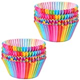 Cupcake Cases, Cake Paper Cup Rainbow Baking Cups for Oven Wedding Party Birthday, 100pcs