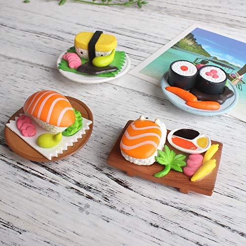 changshuo Calamite da Frigo 4 Pezzi Magneti per Sushi Adesivi per Frigorifero 3D Decorativi in Resina Dipinta A Specchio Magnete per Frigorifero Accessori per La Decorazione Domestica