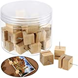 30 Pieces Slot Wood Push Pins Holder Thumb Tacks for Holding Photo Picture Business Card Cork Boards Map Photos Calendar