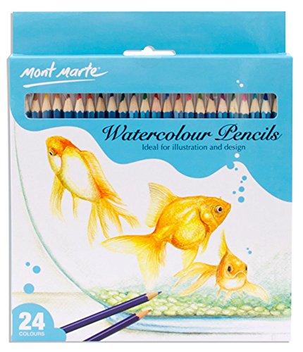 Mont Marte Watercolor Pencils, 24 Piece. Fade Resistant Watercolor Set Ideal for Illustration and Design.
