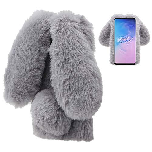 LCHDA Plüsch Hülle für Huawei P30 Lite Künstlicher Haar Flauschige Kaninchen Handyhülle Mädchen Süße Hasenohren Fell Niedlich Handytasche Stoßfest Schützend TPU Silikonhüll- Grau