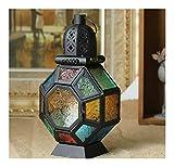 LDTR Black Style Europeo Hanging colorato di Candela di Vetro Cerimonia Nuziale del Supporto del candeliere Lanterna appesa casa Decorazione di Cerimonia Nuziale Mestieri (Color : Black)