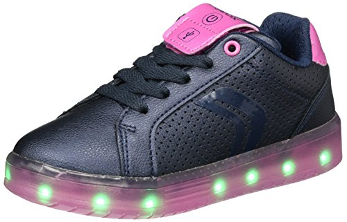 Geox Mädchen J KOMMODOR Girl A Sneaker, Blau (Navy/Fuchsia), 34 EU