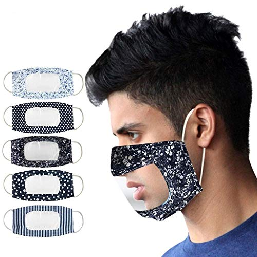 5PCS Adult 𝐌à𝐬𝐜a𝐫𝐢𝐥𝐥as Patrón floral con Gafas Reutilizables Transparente Visible Lavable de Algodón Suave y semicara para sordos y difíciles de oír