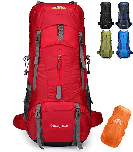 Doshwin 70L Mochila Camping Trekking Senderismo Viaje  con Funda Impermeable   Rojo