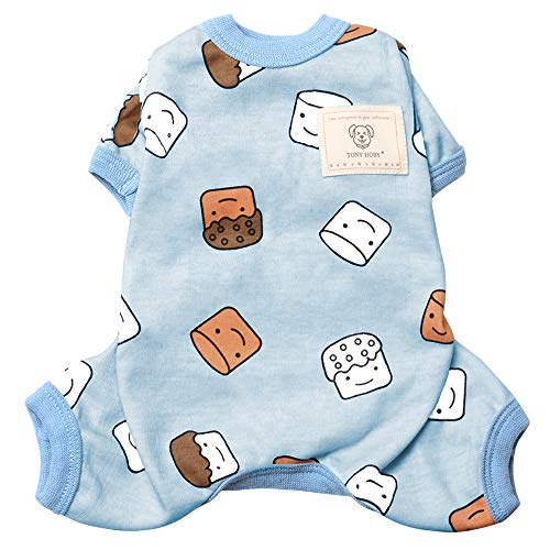TONY HOBY Dog Clothes Cute Smile Cupcake Dog Cotton Pajamas Baby Standards Cat Apparel for Spring and Summer Sky Blue