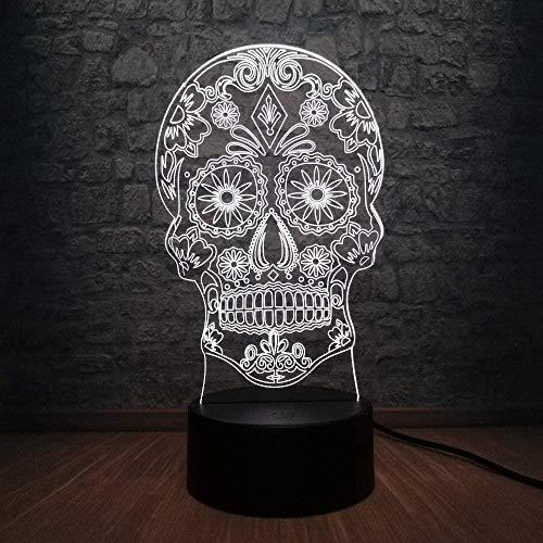 ZWANDP 3D Nachtlampen für Erwachsene Blume Schädel Kopf USB Terror Thema Party Scary Halloween Horrible Atmosphere Farben Wechselnde Nacht Illusion Lichter Led Licht Raum Acryl Lampen