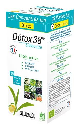 DÉTOX 38 BIO • 38 PLANTES • Triple Action : DÉPURATIF - DRAINEUR - ANTI-CELLULITE • BOISSON CONCENTRÉE BIO • Silhouette • Goût citron • 300 ml • Fabriqué en France • Nutrigée
