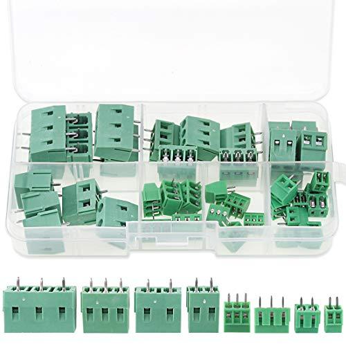 Glarks 40pcs(8 Kinds) 2.54/3.8/5.0/7.5mm Pitch 2/3 Pin PCB Mount Screw Terminal Block Connector Assortment Kit