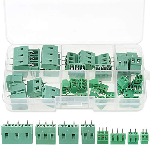 Glarks 40pcs(8 Kinds) 2.54/3.8/5.0/7.5mm Pitch 2/3 Pin PCB Mount Screw Terminal Block Connector Assortment Kit