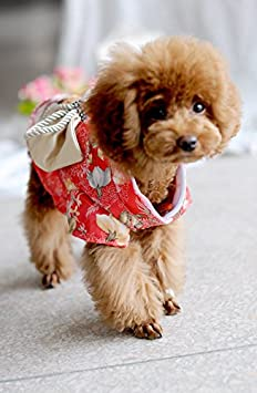 Creation Core Adorable Brocade Pet Kimono Dress Japanese Style Pet Dress Floral Bowknot Pet Costume for Dogs Cats