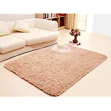 ACTCUT Super Soft Solid Carpet/Floor Rug/Living room carpet/Area Rug 4- Feet By 5- Feet (Khaki)