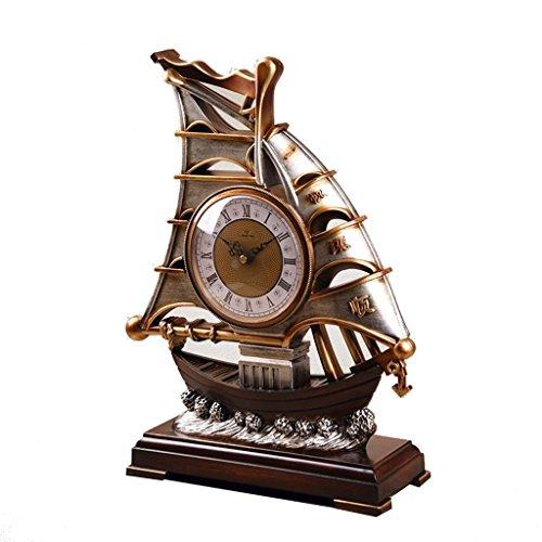 Qivor Vintage Velero Reloj Dormitorio Sentado Reloj Lado de la Cama Péndulo Reloj Sala de Estar Decoración Encimera Reloj Mesa Decoración