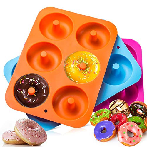 DIY Doughnut Cake Silicone Bakeware Moulds Silicone Donut Baking Pan Handmade Bakeware Set and Cake Decorating Tools Orange (2 Pack)