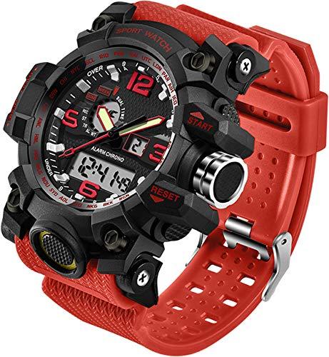 Relógios Masculinos Militar Esportes Eletrônicos LED Cronômetro Digital Analógico Dual Time Outdoor Relógio de Pulso Tático, Alicate de corrida, Vermelho
