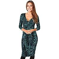 KRISP Vestido Mujer Ajustado Fiesta Invitada Boda Outlet Corto Colores Tallas Grandes Noche Elegante Cóctel, (Verde Azulado/Negro (6609), 40 EU (12 UK)), 6609-TEABLK-12