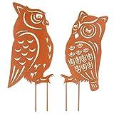 Homarden Metall-Tierdekoration – Eule geformte Garten-Kunst für Außendekorationen – Outdoor-Deko-Zubehör und Rasen-Ornamente – Ornamente Gartenpfähle zur Dekoration – 2-teiliges Set
