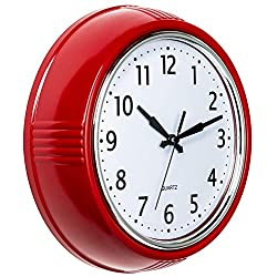 Bernhard Products Retro Wall Clock 9.5 Inch Red Kitchen 50's Vintage Design Round Silent Non Ticking Battery Operated Quality Quartz Clock