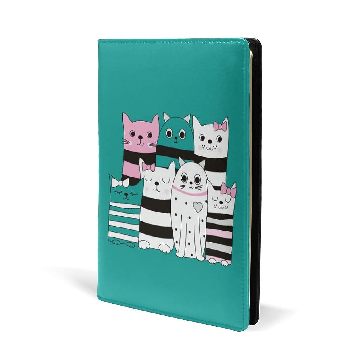 ジャズアヒル有益なブックカバー a5 ねこ柄 マルチ きれい 文庫 PUレザー ファイル オフィス用品 読書 文庫判 資料 日記 収納入れ 高級感 耐久性 雑貨 プレゼント 機能性 耐久性 軽量
