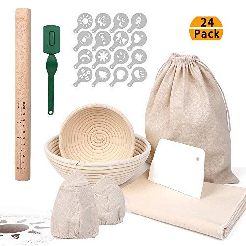 RAIN QUEEN Gärkorb Gärkörbchen Brot Proofing Körbe Runde Rattan Brot Fermentation Korb Bäckermesser Backen Kit (Set Rund(15+22cm))