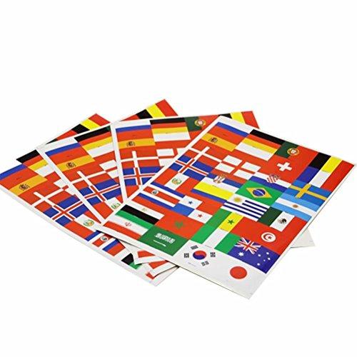 32 Stücke Nationalflagge Aufkleber Tattoos 2018 World Cup Top 32 L?nder Fahnen Papier Aufkleber Body Decals für Fu?ballfans Sportveranstaltungen 5 Bl?tter