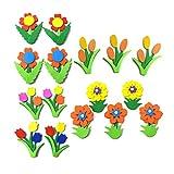 EXCEART 24 Pcs DIY Mousse Fleur Autocollants Eastar Mousse Artisanat Kit 3D Mousse Floral Décorations Murales pour Pâques Party Favors Cadeaux Enfants Art Projets D'artisanat