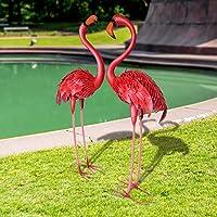 CYA-DECOR フラミンゴ 2個セット 庭の像と彫刻 アウトドア メタル 鳥 庭 アート 家 パティオ 芝生 池 フラワーベッド