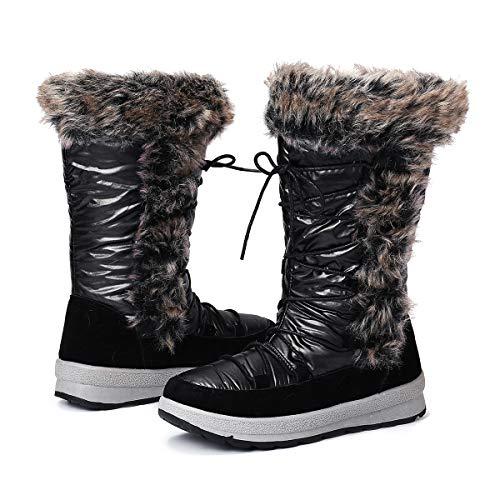 gracosy Botas Nieve Mujer de Piel Invierno Antideslizante Plataforma Zapatos Calentar Cremallera Botines Cordones Casuales Media Lluvia Botas Negro