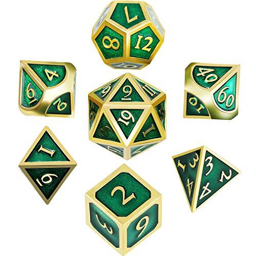 Hestya 7-teiliges Metall-Würfel-Set, DND Spiel, Polyeder, solides Metall,D-Würfel-Set mit Aufbewahrungstasche, Dungeons and Dragons , Mathematikunterricht Goldrand Grün