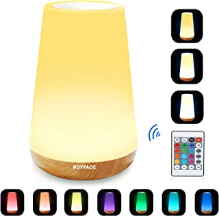 ROYFACC LED Nursery Night Light Touch Lamp Bedside Table Lamp for Kids Bedroom Rechargeable Dimmable with Remote Control and Timing Function Warm White Light + RGB Color Changing