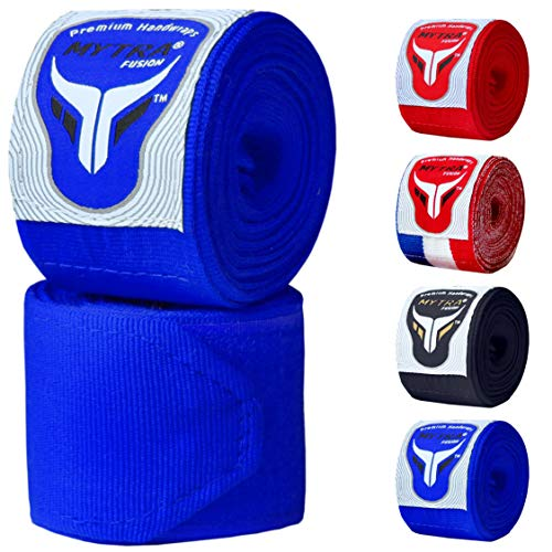 Mytra Fusion Adults Boxing Hand Wraps 3.75 Meters Gym Fitness Workout Sparring Wraps (Blue)
