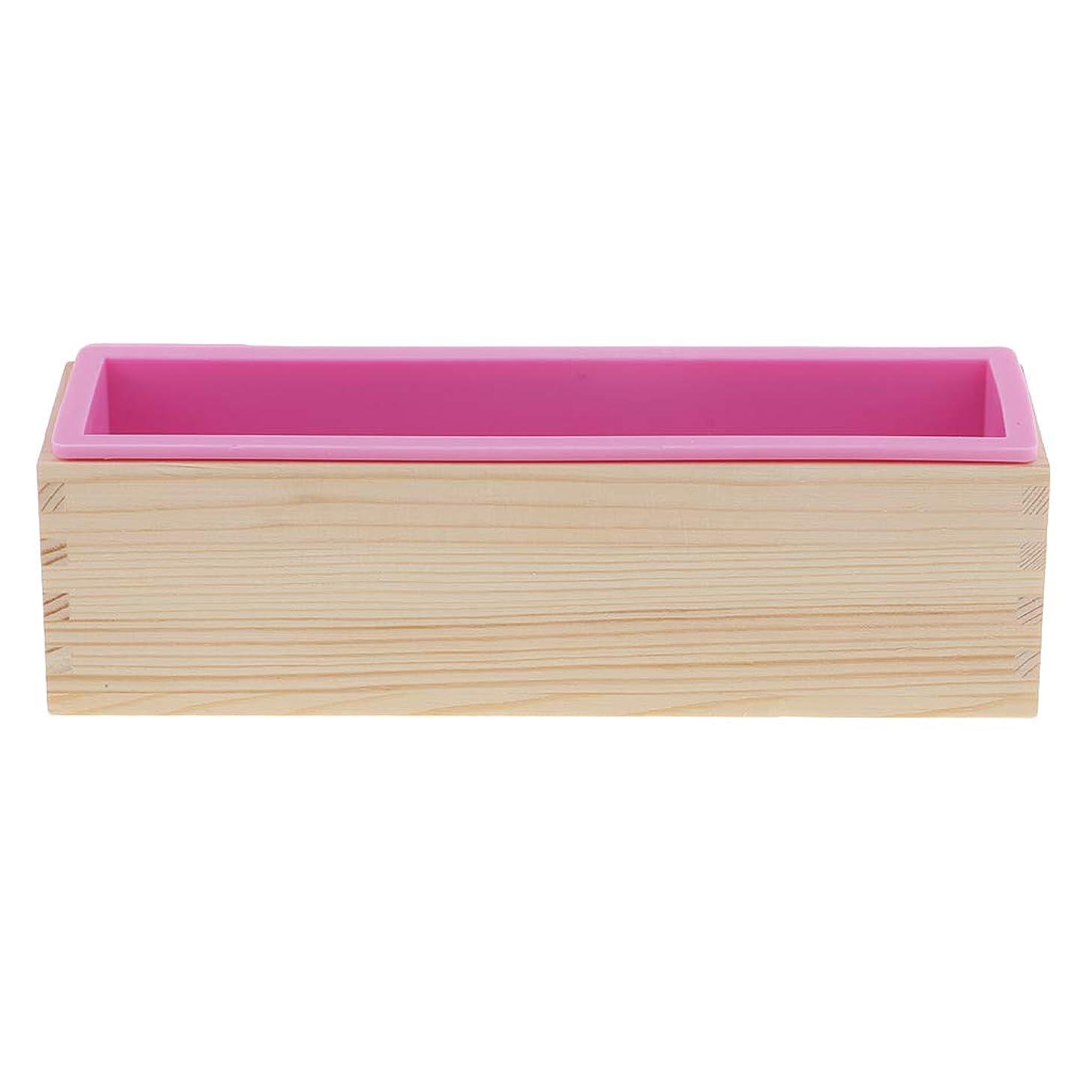 詩人圧力ボットFLAMEER ソープ金型 木製ボックス 長方形 長方形 3D 木製 箱 シリコン 鋳造 手作り ピンク