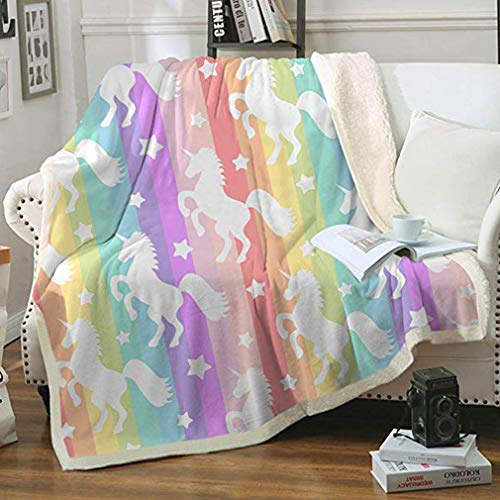 "FairyShe Rainbow Unicorn Throw Blankets Plush Blanket for Girls,Soft Worm Sherpa Fleece Blanket Adults for Crib Couch Chair Living Room Travel (50""x60"",Rainbow Unicorn)"