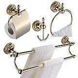 CASEWIND Accesorios de Baño Set Juego 4 Incluidos (Toallero de Aro, Gancho de Ropa, Doble Barra de Toallas, Portarrollos de Papel Higiénico) de Latón de Color Oro