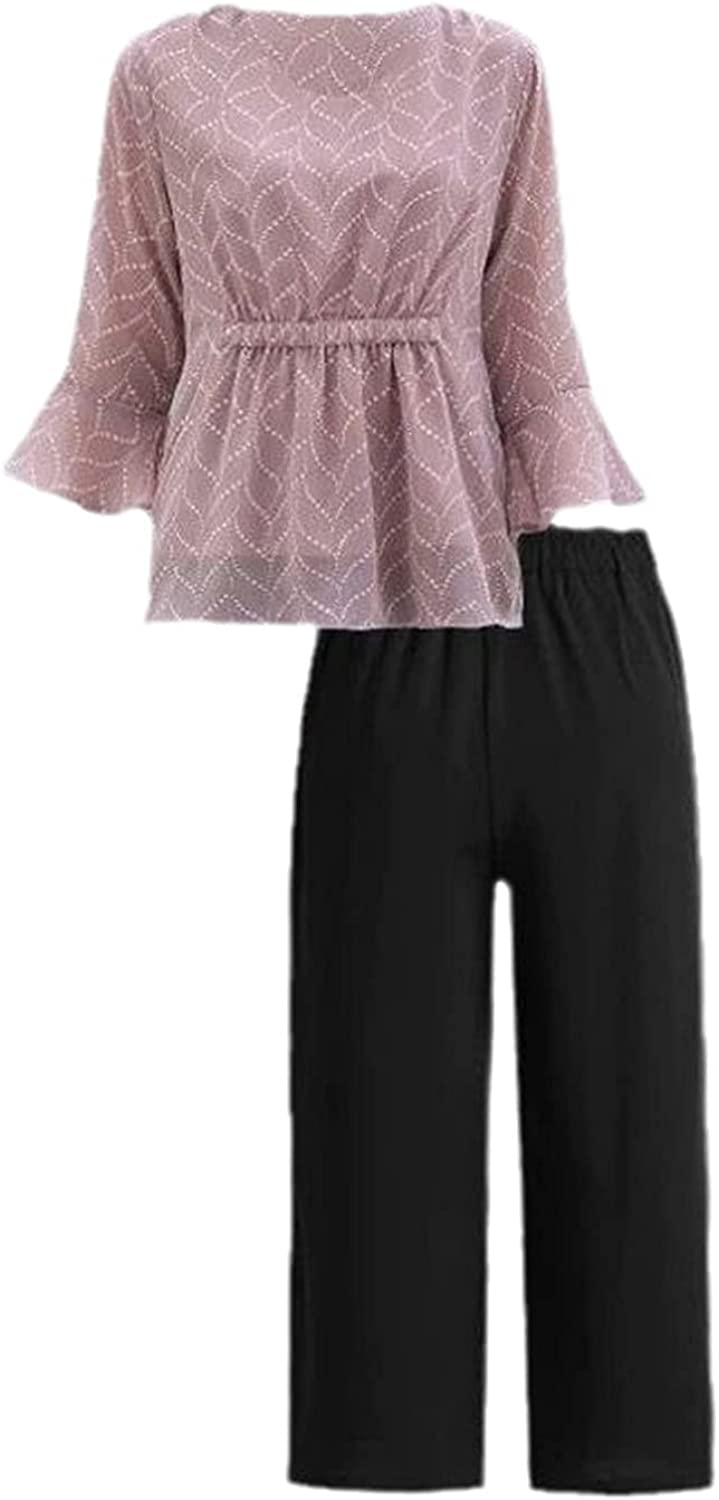 Mother Summer Clothes Spring Plus Size Half Sleeve Middle-Aged and Elderly Chiffon T-Shirt Tops + Pants Suits