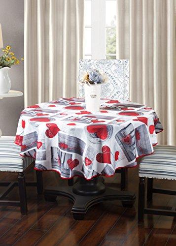 Frenessa Mantel Redondo Antimanchas Impermeable, Manteles Estampados para Comedor Cocina Casa Hotel Restaurante, Diámetro 140cm, Corazon de Amor