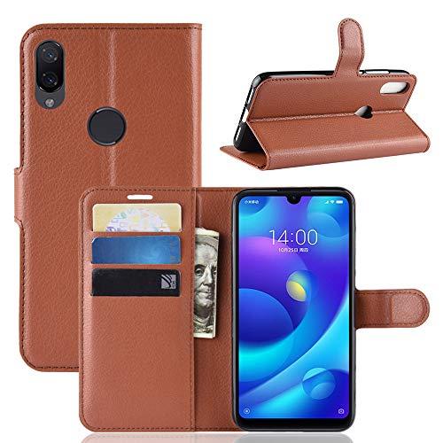 MISKQ Cover für Xiaomi Mi Play, Clamshell Wallet Holster, Handytasche für Dropproof, Silikonhülle (braun)