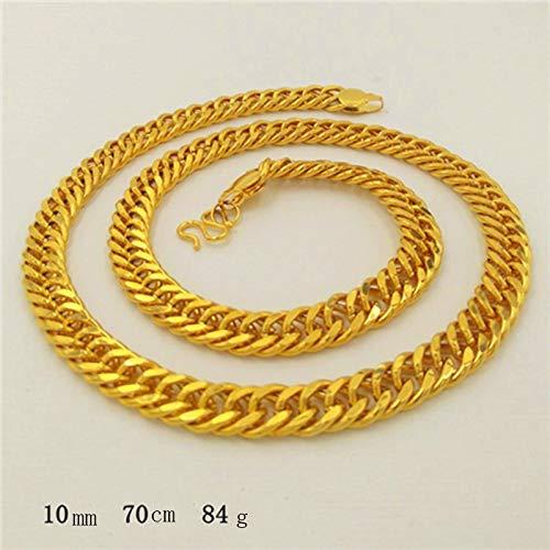 Yuanyuanliu Alluvialen Goldkette Goldkette Gold Galvanisierungstank Boss Herren-Kette 999 Gold-Shop Mit Dem Geld Nicht Verblassen (Color : C)