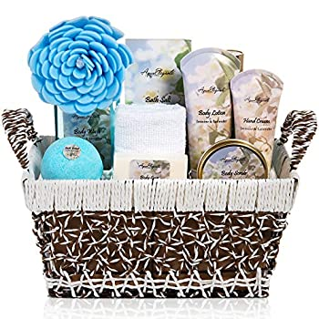Spa Baskets For Women - Luxury Bath Set With Jasmine & Lavender - Spa Kit Includes Wash Bubble Bath Lotion Bath Salts Body Scrub Body Spray Shower Puff Bathbombs Soap and Towel Large