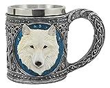 Ebros Celtic Direwolf Ghost White Wolf Mug 16oz Resin Wolf Totem Spirit Cup With Stainless Steel Rim Insert Figurine