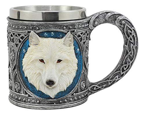 Ebros Celtic Direwolf Ghost White Wolf Mug 11oz Resin Wolf Totem Spirit Cup With Stainless Steel Rim Insert Figurine