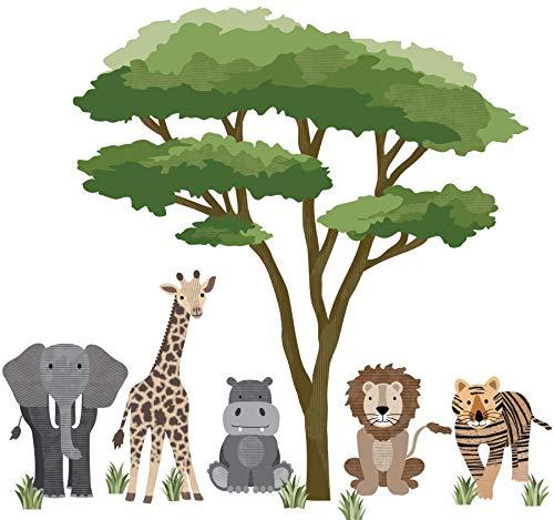 Safari Animal Wall Decals with Acacia Tree, Nursery Wall Decals, Jungle Wall Stickers