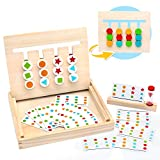Symiu Juguetes Montessori Tablero Juego de Madera Puzzles Infantiles con Tarjetas de Patrón y Disco...