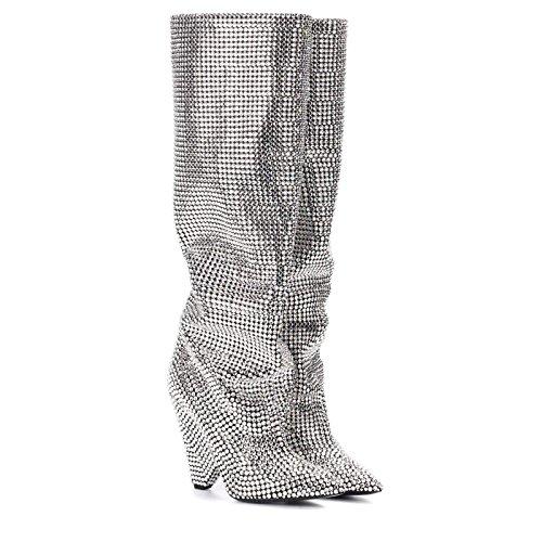 Olivia & James Silver Rhinestone Embellished Crystals Heel Slouchy Scrunch Boot (6)