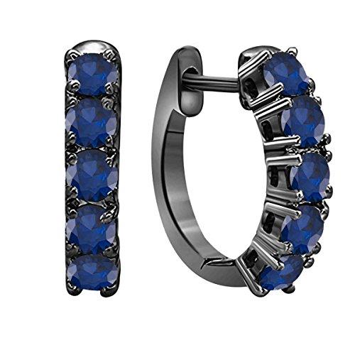 Splendido orecchino da donna in lega di zaffiro blu da 1,00 carati, taglio rotondo, in rodio nero