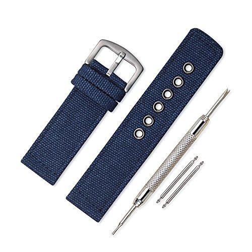 Vinband Cinturini Orologi Alta qualità Orologi Bracciale Militari dell'esercito Camuffare - 18, 20, 22, 24mm Cinturino Orologio Addensare Fibbia Dell'acciaio Inossidabile (20mm, Blu Navy)